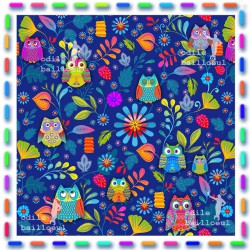 Piece of cotton fabric : Owls blue