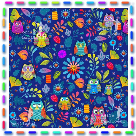 Coupon coton Chouettes bleu