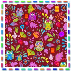 Piece of cotton fabric : Owls red