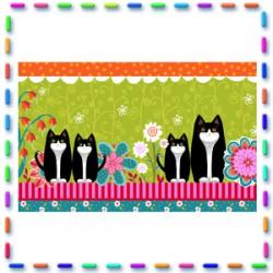 Bordure coton   Petits chats fond vert