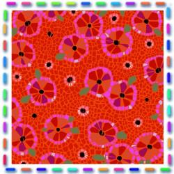 Velours  fleurs d'assiette rouge