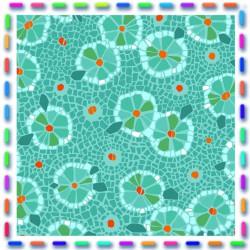 Velours fleurs d'assiette turquoise
