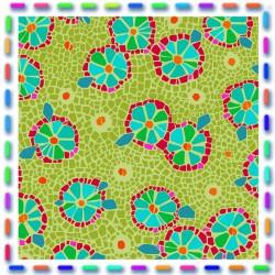 Velours  fleurs d'assiette vert