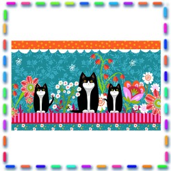 Bordure coton   Petits chats fond bleu