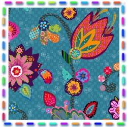Coton enduit Fleury bleu