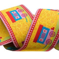 Weaved ribbon 38mm Caravans yellow