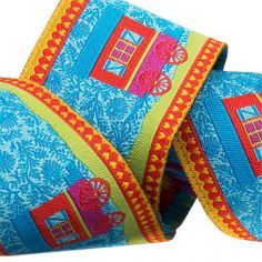 Weaved ribbon 38mm Caravans blue