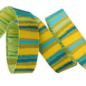 Weaved ribbon 10 mm Fanciful stripes green