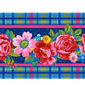 Bordure velours Fleurs d'Ecosse bleu