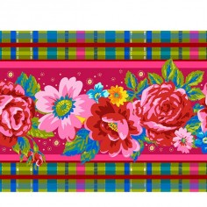 Bordure velours Fleurs d'Ecosse rose