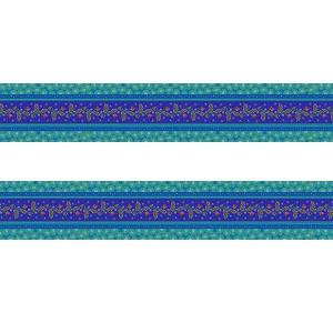 Petite bordure velours Galon brodé bleu
