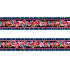Petite bordure velours Fleurs d'Ecosse noir