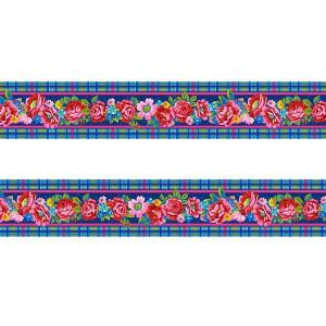 Petite bordure velours Fleurs d'Ecosse bleu