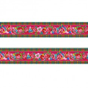 Petite bordure velours Fleurs d'Ecosse rose