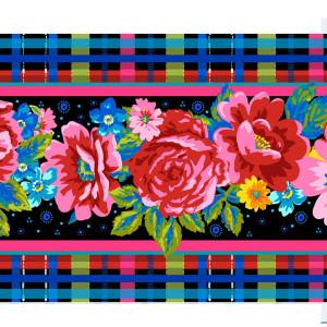 Velvet border Scottish flowers black