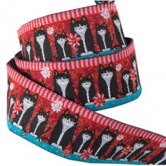 Weaved ribbon 22mm Filou the cat red