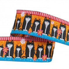 Weaved ribbon 22mm Filou the cat orange