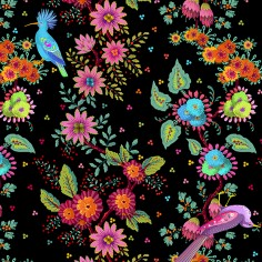 "Panel velvet ""Magic garden"" black"