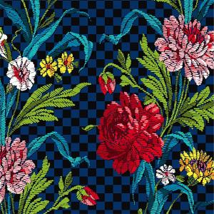 Velours Des fleurs dans ma cuisine bleu