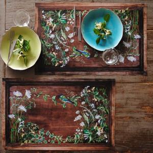 """Lot 4 sets de table """"mésange et fleurs blanches """""""