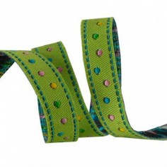 Weaved ribbon 10 mm French Knots green