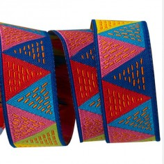 Ruban tissé 22 mm Triangles Multicolores