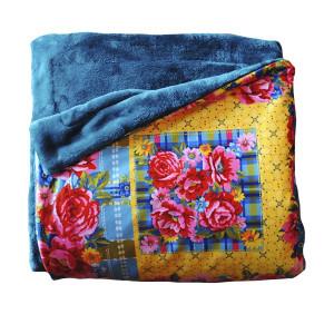 Plaid Brodé bleu 100 x 140 cm doublure soft