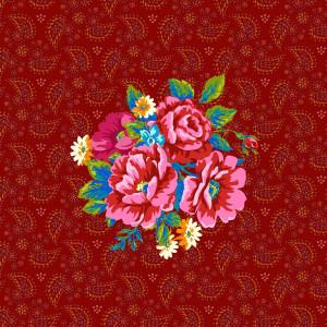 Etiquette velours Bouquet de fleurs