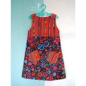 Patrons couture enfant : TOURNESOL en velours souple Ernesto orange et Fleurs de Mexique