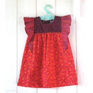 Patrons couture enfant : CAMELIA en mini Seringa prune, Seringa rouge et Tissage prune