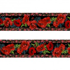 Bordure velours Coquelicots