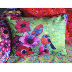 Velvet pillow Birds green