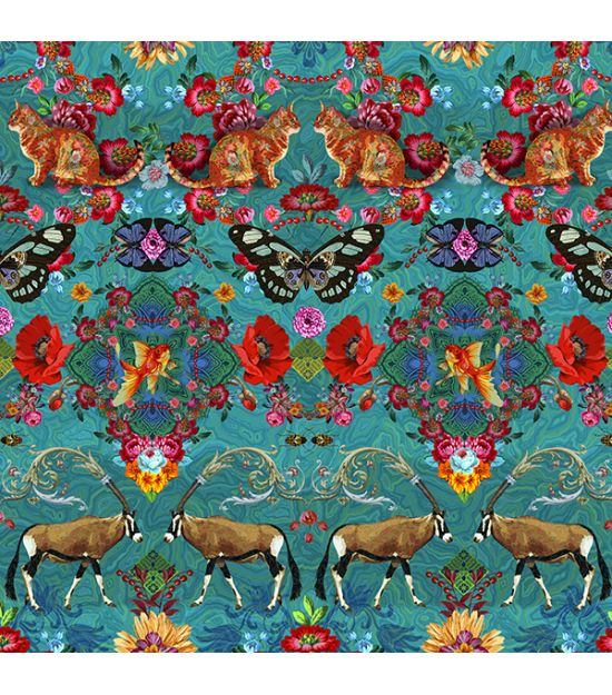 Cotton Fabric Singapour Turquoise