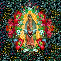 Ex Voto -Gadaloupe Virgin and flowers