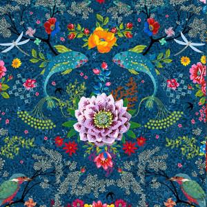 Jersey de coton Mare enchantée bleu