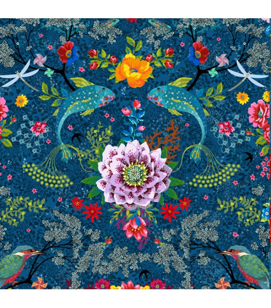 Cotton jersey Enchanted pond blue