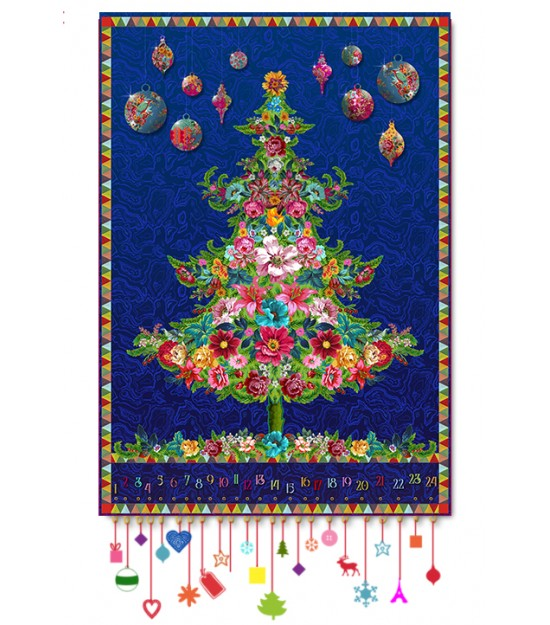 Velvet pannel : blue Christmas tree