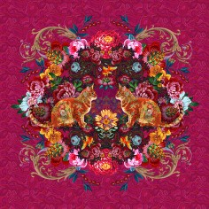 Panneau médaillon Chat rose