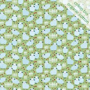 Organic cotton mini counting sheep green