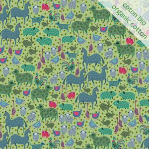 Coton Bio Basse-cour pistache