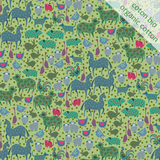 Organic cotton Basse-cour green