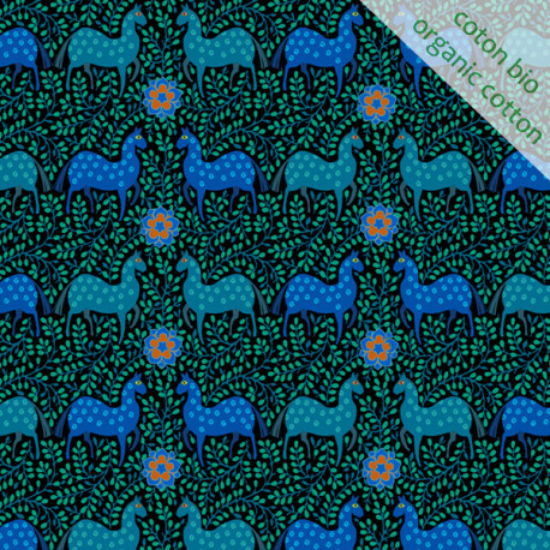 Organic cotton Horse blue