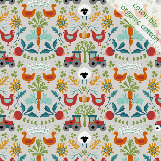 coton bio Fermette gris