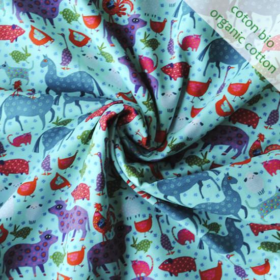 Jersey de coton bio Basse-cour bleu