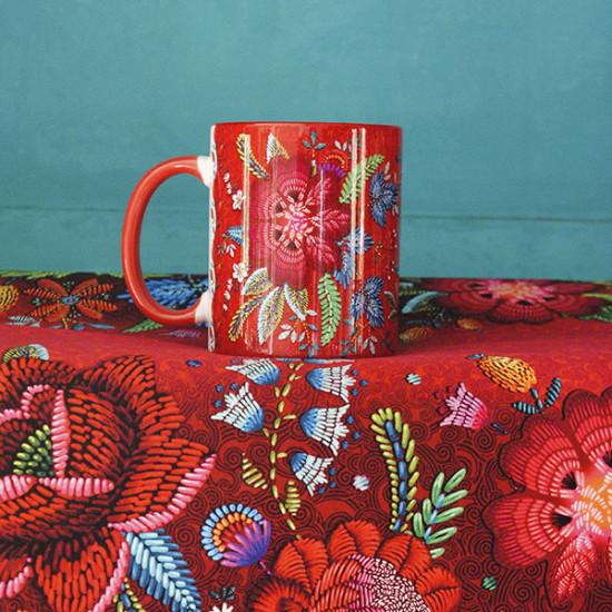 Red Embroidery mug