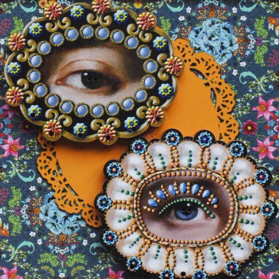 """Wooden buttons """"Blue beaded eye """""""