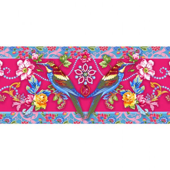 Velvet border Jewels pink