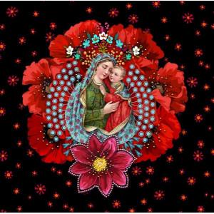 Carte velours Vierge à l'enfant