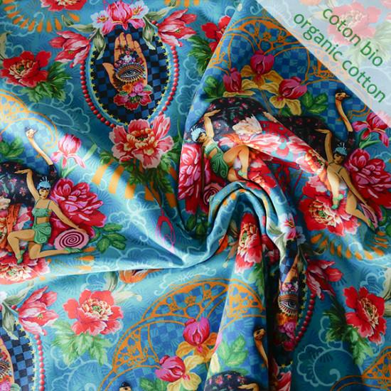 Jersey de coton bio Magic Sisters bleu