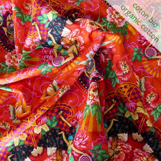 Jersey de coton bio Magic Sisters rouge